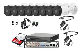 Kit Video Vigilancia 8 Cámaras 1080p Dahua Cctv 2 Tb Baluns