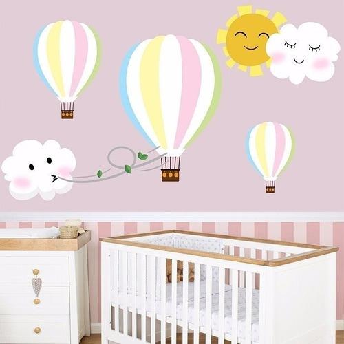 Quarto De Bebe Berço Rosa Adesivos Infantil Baloes Nuvens