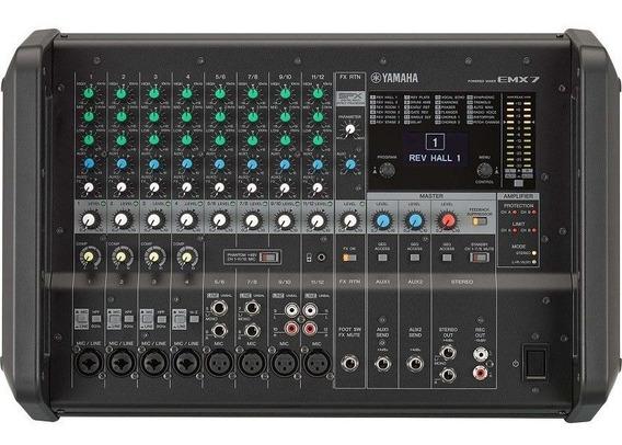 Mesa De Som Analógica Amplificada Emx7 Yamaha - 12 Canais