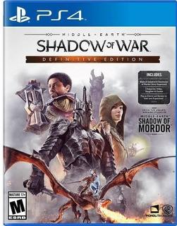 Ps4 - Shadow Of War Definitive - Juego Físico (mercado Pago)