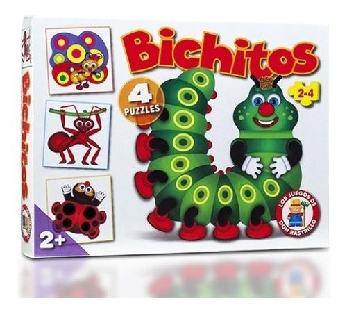 Puzzle Rompecabezas Bichitos 2 Y 4 Piezas 4 En 1 Ruibal Edu