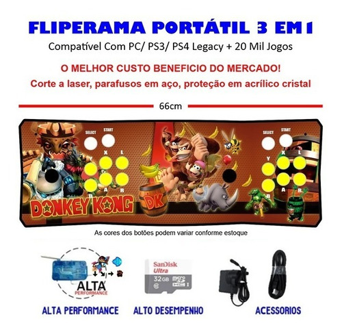 Imagem 1 de 3 de Fliperama Portátil Slim 3 Em 1 - Donkey Kong