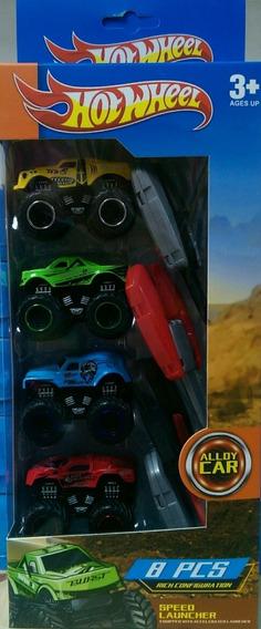 Carros Hot Wheel (8 Piezas) Speed Launcher - Juguetes Niños