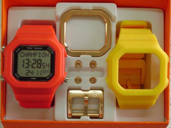 Relógio Champion Yot Original Cp40180x Amarelo Vermelho