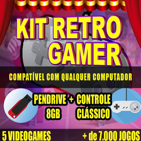 Kit Retro Gamer + 2 Controles Nintendo 8gb Pc Tv Box Android