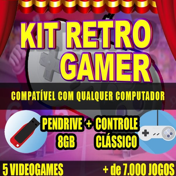 Kit Retro Gamer + Pendrive Nintendo 8gb Pc Tv Box Android