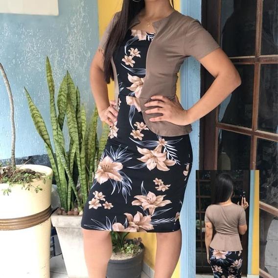Vestido Estampado Digital Roupa Social Moda + Colete Brinde