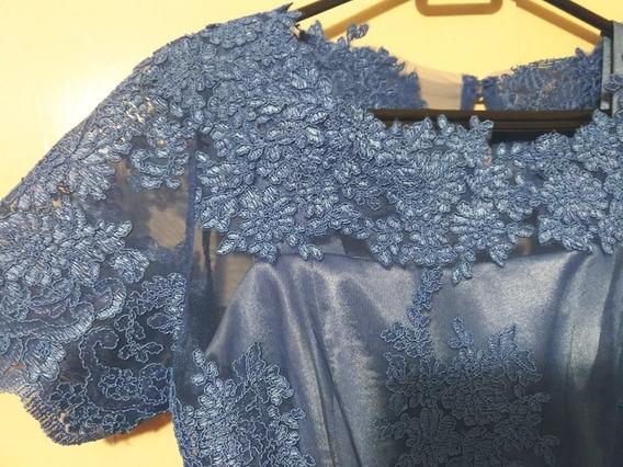 Lindo Vestido Longo Festa Tam. 38 Seda E Renda Azul