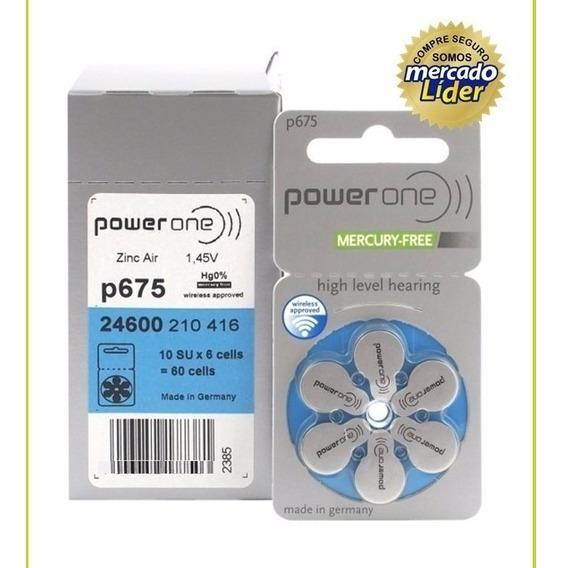 60 Pilhas Baterias P675 Pr44 Aparelho Auditivo - Power One