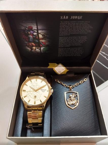 Relógio Pulso Seculus Masculino São Jorge Dourado