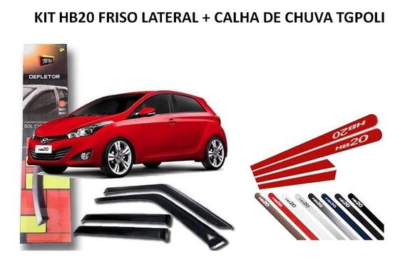 Kit Friso Lateral + Calha Defletor De Chuva Hb20 2012 A 2015
