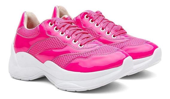 Tênis Sneaker Chunky Feminino Vicerinne Verniz Conforto Leve
