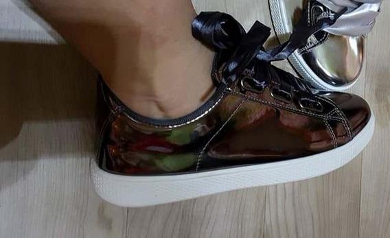 Zapatillas Espejadas Cordones Cintas De Raso Importadas