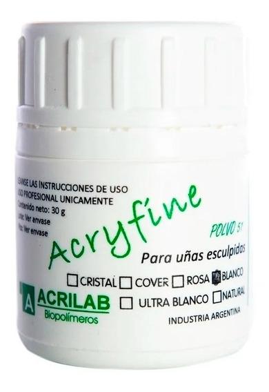 Acryfine Polimero Construcción Uñas Esculpidas Blanco Local