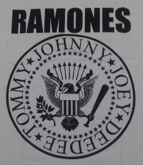Camiseta Ramones Branca Brasão Look Brutal Brbl08