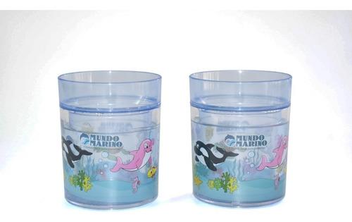 Vaso Plástico Con Gliter *2 Unidades Mundo Marino 238 Cc