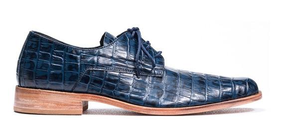 Tremendo Scarpe Zapato Hombre Sport Cuero Cocodrilo Azul
