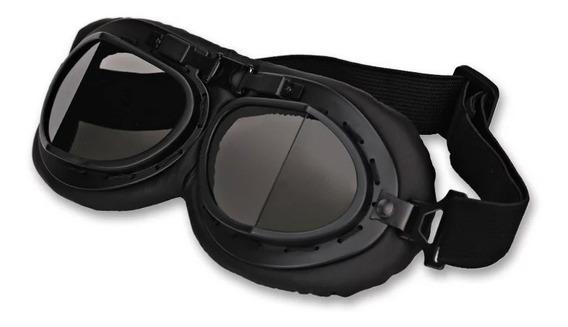 Óculos Goggle Capacete Custom Cafe Racer Aviador Vintage Pto