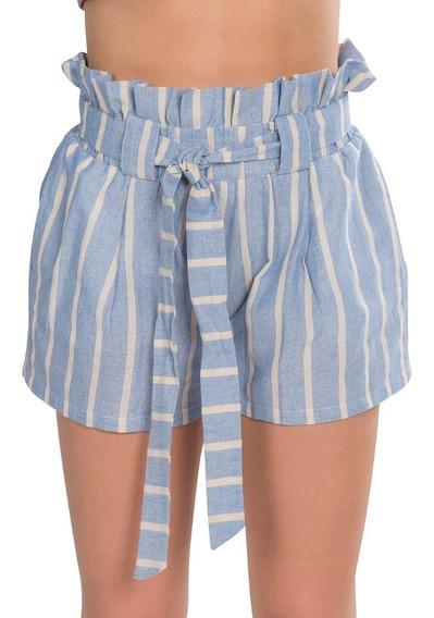 Short Mujer Corto Olan Rayas Azul Playa Moda Y91111