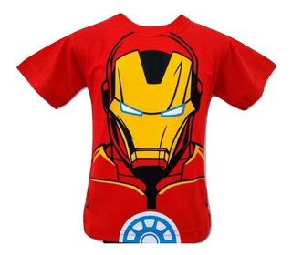 Camiseta Camisa Homem De Ferro Infantil Manga Curta 2 Ao 16