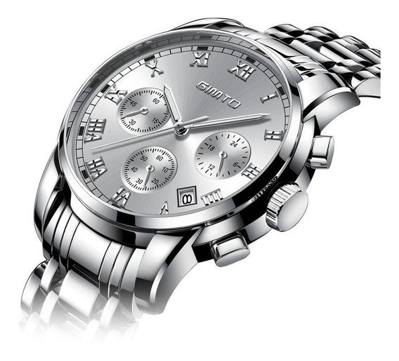 Relógio Casual Luxo Quartz Gimto Aço Inox À Prova De Água