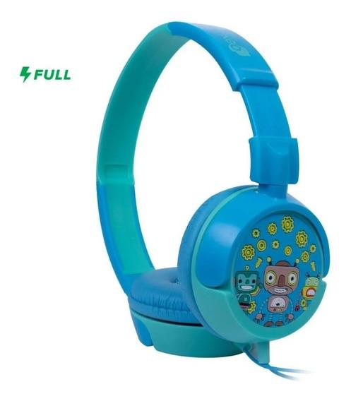 Headphone Infantil Fone De Ouvido Azul Robo Kids Dobra Oex