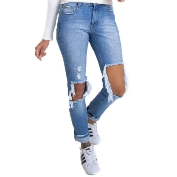 Calça Jeans Destroyed Feminina Cintura Média Lady Rock