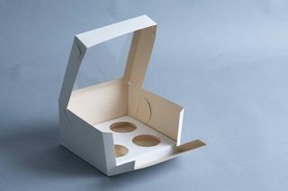 Caja Cupcake X4 C/ Visor (x 50 U.) Muffin Pvc Acetato - 037 Bauletto