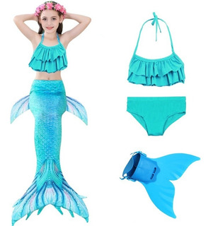 Biquíni Infantil Ariel Cauda Sereia Nadadeira Monofin Azul