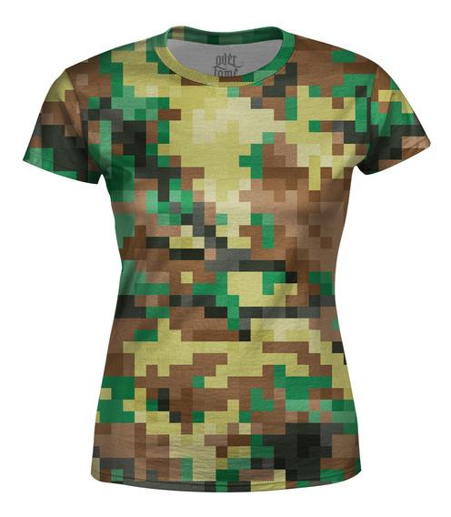 Camiseta Baby Look Feminina Camuflado Pixels Estampa Total