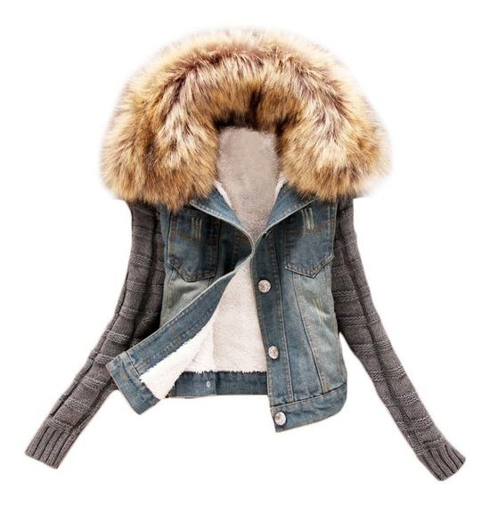 Jaqueta Feminino Casaco Jeans Suéter Pelo Cardigan Blusa Lã