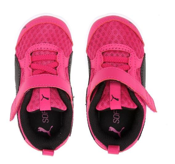 Tênis Puma Flex Essential Rosa Preto Feminino Infantil