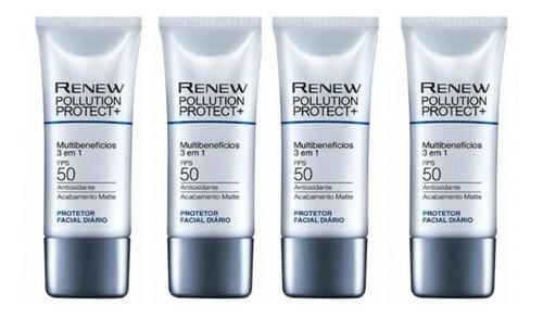 Imagem 1 de 3 de Protetor Solar Facial 3/1 Renew Pollution Fps50 4 Uni - Avon