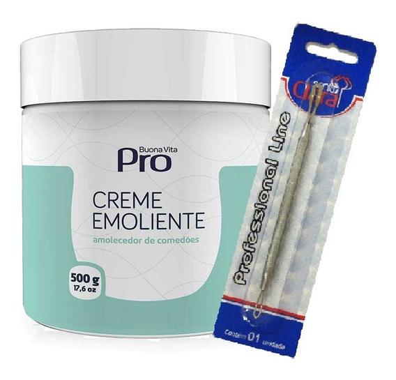 Kit Amolecedor Creme Emoliente Comedões Cravos 500g Buona Vita Pro Com Extrator Duplo - Trieta 10% Para Limpeza De Pele