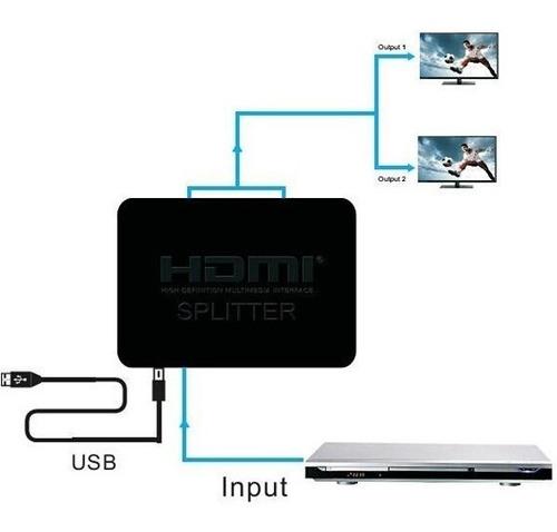 Hdmi 4k Splitter 1x2 Divisor Video 2 Pantallas Tv Hd 1080p
