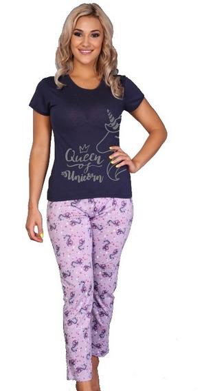 Pijama Para Dama Unicornio Blusa Manga Corta Pantalon 9363