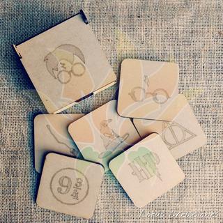 Combo 6 Posavasos + Caja -corte Láser- Diseño Personalizado