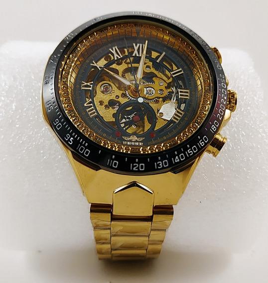 Relógio Mecanico Winner Dourado Original Frete Gratis