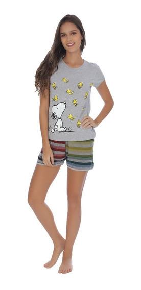 Pijama Para Dama Snoopy Blusa Manga Corta Y Short Rayas 8007