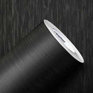 Adesivo Vinil Aço Escovado Preto Decorativo Geladeira + Kit