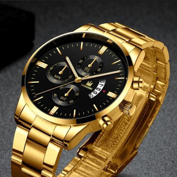 Relógio Luxo Aço Inoxidável Dourado &preto