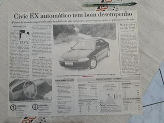 Recorte Jornal Matéria Teste Honda Civic Ex Automático 1993