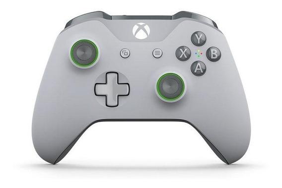 Controle Xbox One S Cinza Claro Cinza E Verde Microsoft Novo