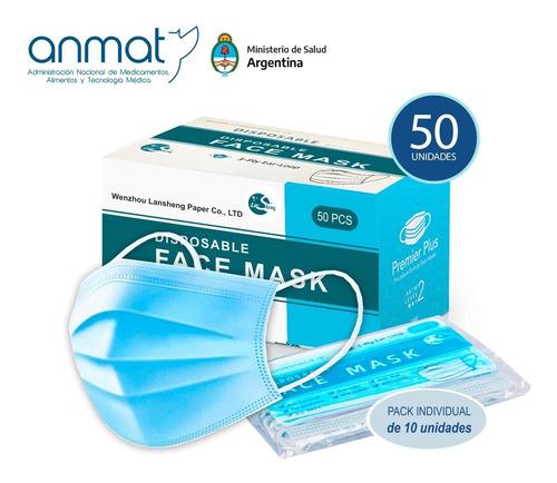 Barbijo Mascarilla Descartable Cn Anmat Clip Nasal Pack X50