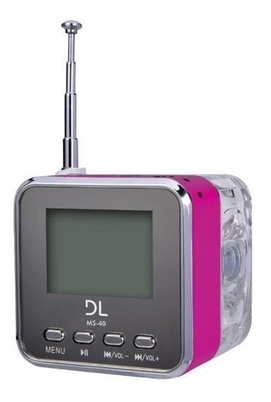 Som Portátil Mp3 Com Rádio Fm E Relógio - Ms40 - Pink
