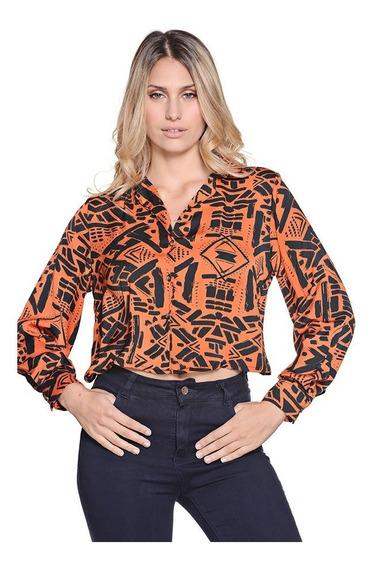Camisa Manga Larga Con Solapas Abstracta 2 Colores Mujer Imb