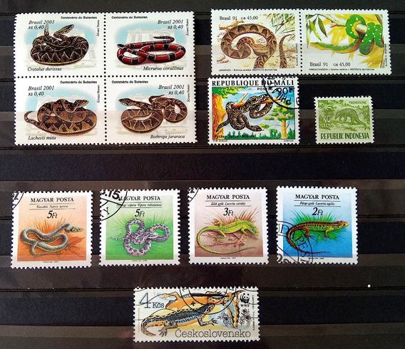 Fa 014 Selo Fauna Cobra Lagarto Brasil Hungria