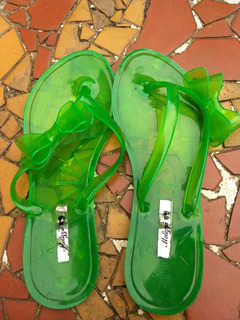 Sandália Chinelo De Plástico Verde + Laço (descolado) 38/39