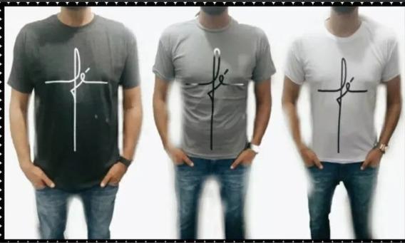Kit Lote 5 Camiseta Masculina Fé Cores Variadas