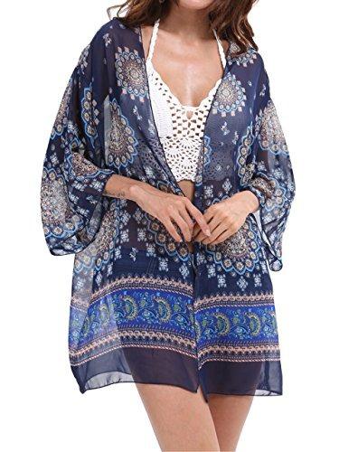 Ayliss Mujeres Gasa Suave Impreso Playa Kimono Cárdigan